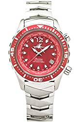 The Abingdon Co Marina Dive Watch in Reef Red with Wetsuit Band Expander