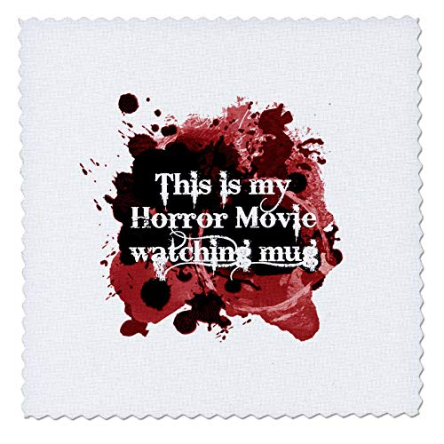 3dRose InspirationzStore - Occasions - This is my Horror Movie watching mug - for scary halloween film fans - 25x25 inch quilt square (qs_317314_10)