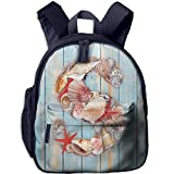 Haixia Kid Boy's&Girl's Backpacks with Pocket Letter S Various Seashells Scallops Starfishes On Wooden Planks Nautical Decorative Pale Blue Ivory Dark Coral