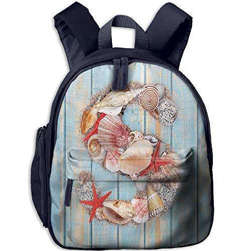 Haixia Kid Boy's&Girl's Backpacks with Pocket Letter S Various Seashells Scallops Starfishes On Wooden Planks Nautical Decorative Pale Blue Ivory Dark Coral by Haixia