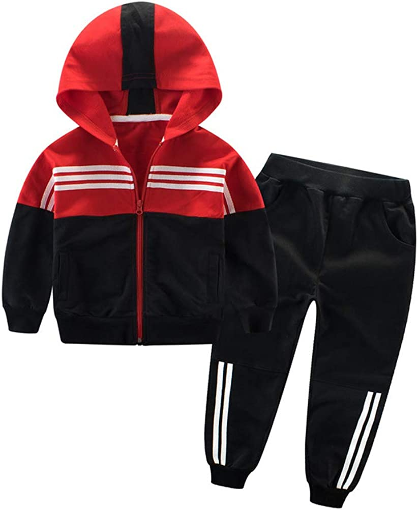 Mallimoda Boys 2-Piece Sweatsuit Pants Set Athletic Hooded Hoodie Bottom Jogging Suit