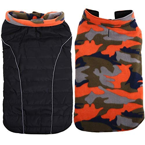 QBLEEV Reversible Dog Windproof Coats Jackets Cold Weather Apparel Cozy Puppy Pet Clothes Accessories Large Medium Dogs, Black/Orange Camo,Ideal for Samoye Husky Folden Retriver(L) ()