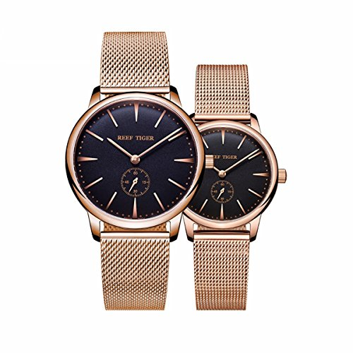 Reef Tiger Luxury Couple Watches for Lovers Men Women Ultra Thin Quartz Watch RGA820 by REEF TIGER
