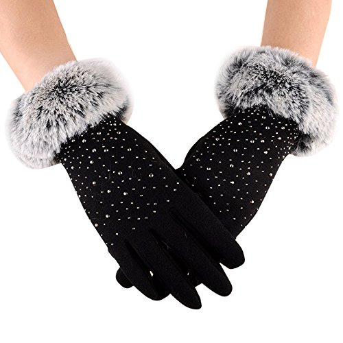 Loneflash Fashion Womens Winter Solid Full Finger Hand Outdoor Sport Warm Gloves (Black) ()