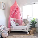 Bed Canopy, Dyna-Living Mosquito Stopping Net Dome Princess Tent Light Block Out Room Decorate W/Assembly Tools for Boys Girls Reading Playing Indoor Game House,Cotton,Height -90 inch (Pink)