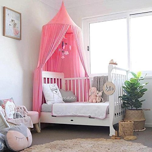 Bed Canopy, Dyna-Living Mosquito Stopping Net Dome Princess Tent Light Block Out Room Decorate W/Assembly Tools for Boys Girls Reading Playing Indoor Game House,Cotton,Height -90 inch (Pink) by Dyna-Living