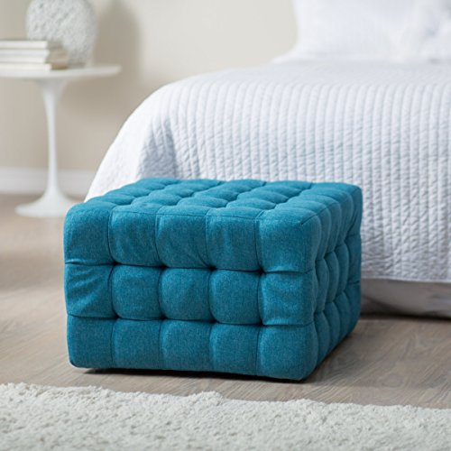 Living Allover Tufted Square Ottoman - Teal .