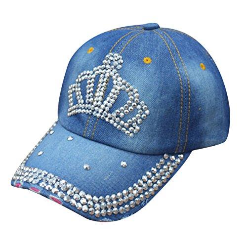 (LKXHarleya Women Studded Rhinestone Baseball Caps Crown Bling Adjustable Jeans Wash Denim Golf Sun Hat Snapback)