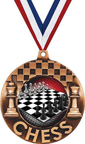 Crown Awardsブロンズチェスメダル - 2 1/4インチ チェストーナメント第三位メダル 赤、白、青のネックリボン付き プライム B07GRDCVS4  50