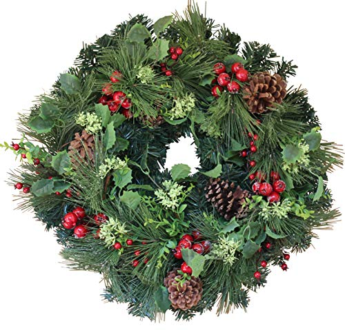 The Wreath Depot Aurora Winter Wreath, 22 Inches, Designer Full Winter Wreath Enhances Front Door Decor, White Gift Box Included (Door Fall Sale Wreaths)