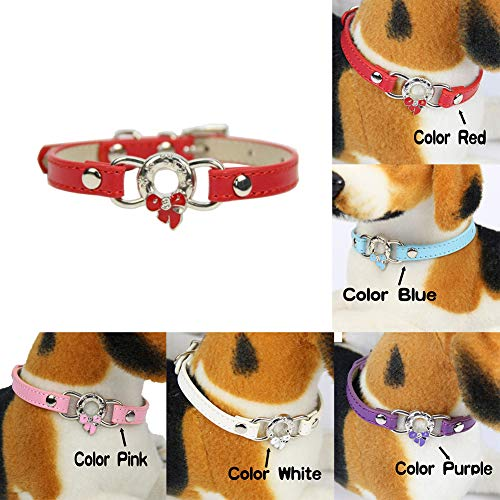 wanshenGyi Pet Collar, Classic, Stylish, Hot, Practical, Fashion Pet Supplies Enamel Bowknot Faux Leather Band Puppy Dog Cat Collar - Purple 1.035cm Home, Work, Travel Outside