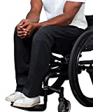 Fleece Adaptive Wheelchair Pants For Men - Disabled Adults - Black XL