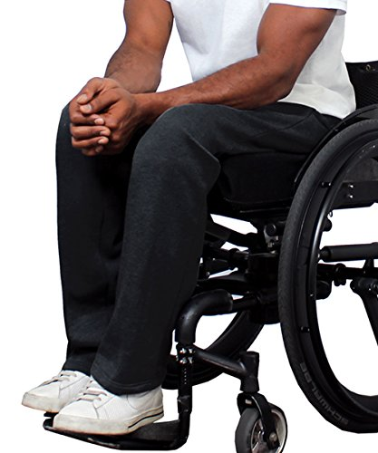 Adaptive Clothing Disabled - Silvert's Fleece Adaptive Wheelchair Pants For Men - Disabled Adults - Black MED