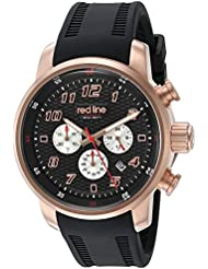 red line Mens Topgear Quartz Stainless Steel and Silicone Casual Watch, Color:Black (Model: RL-303C-RG-01)