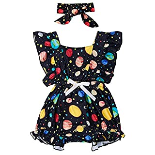 BFUSTYLE Newborn Baby Girl Floral Romper Toddler Flutter Bodysuit Outfit+Headband