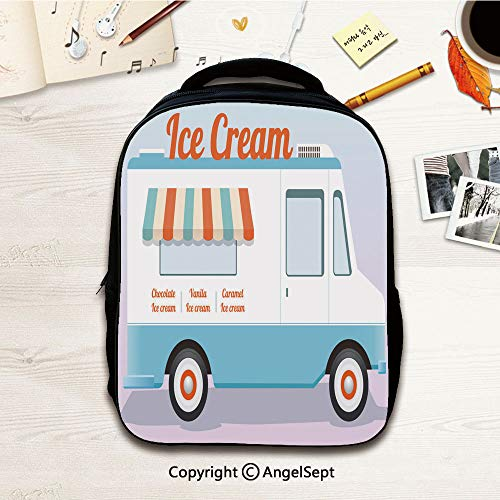 Kids Backpack,colorful ice cream truck,12.2
