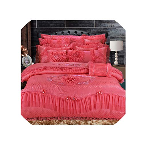4/6/10 Pcs Oriental Lace Luxury King Queen Size Bedding Set Red Pink Stain Wedding Bed Cotton Bed Spread Duvet Cover Set,2,Queen - Queen 8pcs Bedding