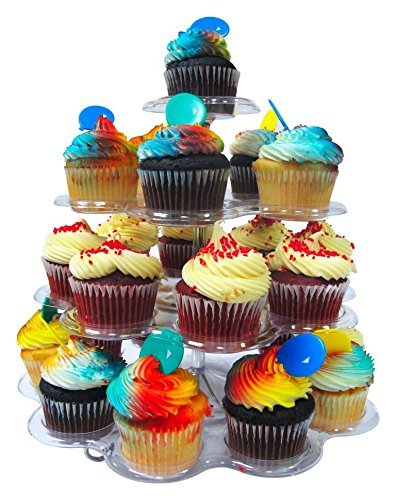 Imperial 4 Tier Plastic Cupcake / Dessert Stand - Up to 24 Cupcake Holder Stand (Cheap Cupcake Stand)