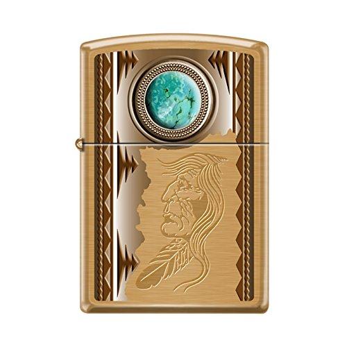 Zippo Lighter - American Indian w/ Turquoise Brush Brass