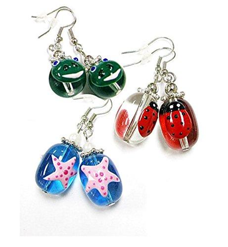 Linpeng E-27/61/68 Fiona Hand Painted Sea Star Ladybug and Frog Glass Beads Earrings, (Hand Painted Beads)