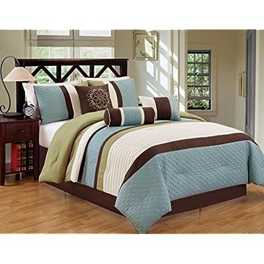 JBFF Bed in Bag Microfiber Luxury Comforter Set, Queen, Sage/Coffee, 7 Piece