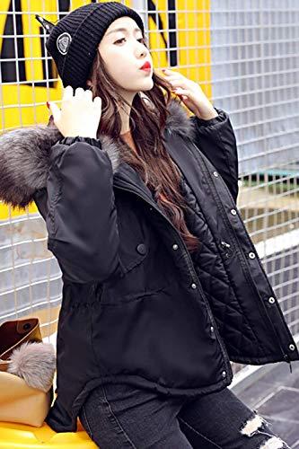 Casual Invernali Fashion Chiusura In Forti Vintage Manica Trapuntata Piumini Collo Puro Giacche A Sintetica Giacca Nero Cappotto Autunno Colore Giovane Lunga Cerniera Taglie Pelliccia Donna w7qtC5