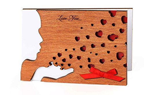 Handmade Sustainable Real Wood Card Tender Kiss Red Hearts Original February 14 th Love You Card Top Be My Valentine for Your Sweetheart