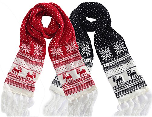 MTFS Winter Warm Scarf Reindeer Snowflake Knit Scarf Lovely Christmas Scarf (B# - 2 Color Pack)
