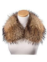 Bellefur Womens Wide Raccoon Fur Collar Scarf Wrap for Coat