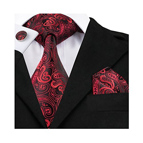 Classic Square Cufflinks (Hi-Tie Paisley Red Silk Tie)