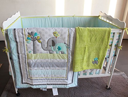 NAUGHTYBOSS Unisex Baby Bedding Set Cotton 3D Embroidery Elephant Bird Quilt Bumper Mattress Cover Blanket 8 Pieces Green by NAUGHTYBOSS (Image #1)