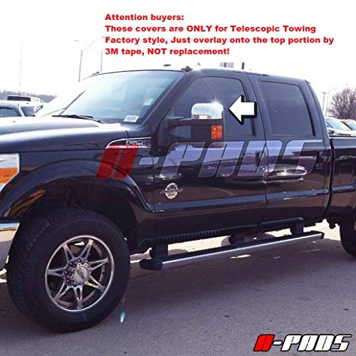 A-PADS Chrome Top Mirror Covers for Ford Super Duty F250 F350 F450 2008-2016 -Only for Factory Towing Mirrors