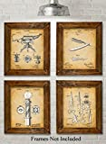 Original Barber Patent Art Prints - Set of Four Photos (8x10) Unframed - Great Gift for Barbers or Barber Shops