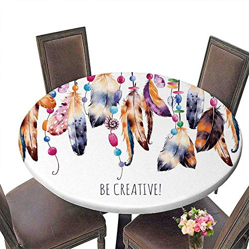 PINAFORE Premium Tablecloth Beautiful Template cardWatercolor Feathers with Ribbons Shells Strings of Pearls Everyday Use 63