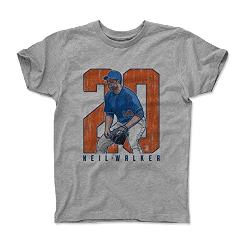 500 LEVEL's Neil Walker Clutch O New York M Baseball Kids T-Shirt 14-16Y Heather Gray Officially Licensed by the Major League Baseball Players Association (MLBPA)