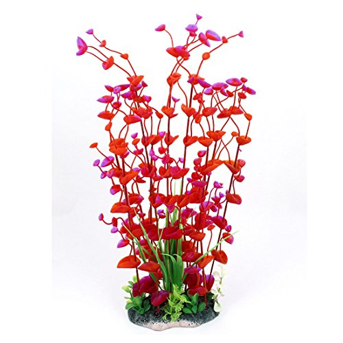 Saim Aquarium Plastic Artificial Plant For Fish Tank 15 Inches Height Red