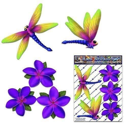 Libellule violet frangipani plumeria petite fleur animal pack voiture autocollants - ST00064PL_SML - JAS Autocollants