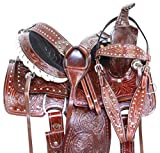 AceRugs 10″ 12″ 13″ Western Youth Kids Ranch Roping Leather Pony Horse Saddle TACK Set Included