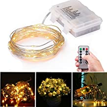 LED String Lights 3AA Battery Powered 16.4ft with 50 LEDs (Warm White Color) Dimmable with IR Remote Control Waterproof Outdoor Wedding Party Decorative Light