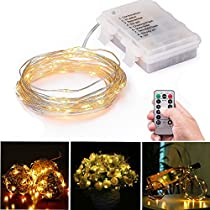 LED String Lights 3AA Battery Powered 16.4ft with 50 LEDs Dimmable with IR Remote Control Waterproof Outdoor Wedding Party Decorative Light