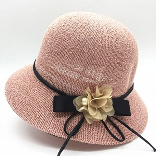 YANGXIAOYU Sun Hat. The Female. Summer Anti-ultraviolet Hat, Straw Hat, Beach Hat, Summer Cool Hat. (Color : Pink)