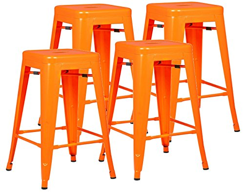 """Poly and Bark Trattoria 24"""" Counter Height Stool in Orange (Set of 4)"""