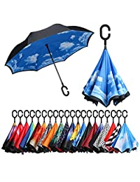 Paraguas invertido de doble capa BAGAIL, paraguas invertido, plegable, resistente al viento, protección UV, gran paraguas recto para la lluvia del coche al aire última intervensión con mango en forma de C, Azul (Bue Sky)