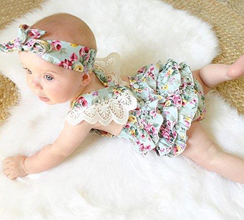 Emmababy Bébé 2pcs Des Filles Barboteuses Dentelle Robe Dos Nu Salopette Avec Bandeau Floral