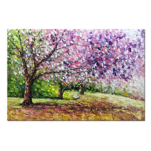Boiee Art,24x36inch Hand Painted Cherry Blossom Tree on Canvas Blooming Life Oil Painting Modern Abstract Forest Canvas Wall Art Landscape Artwork Home Decor Art Wood Inside Framed Ready to ()