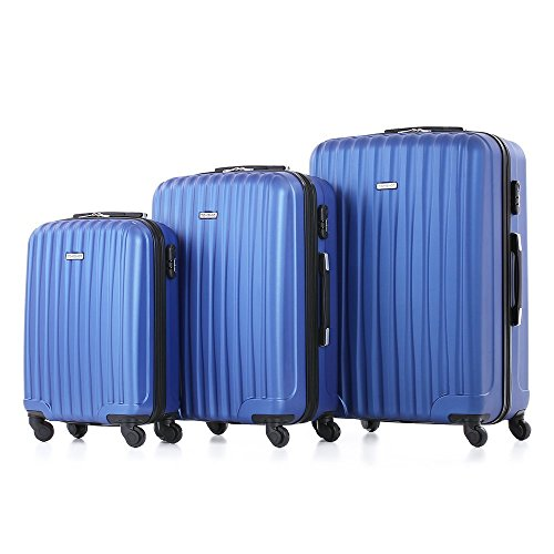 TOMSHOO Fashion Luggage Set, Carry on Suitcase, ABS Trolley, Hard Shell Combination Lock 4 Wheel Spinner Set, Blue, 3 Piece by TOMSHOO