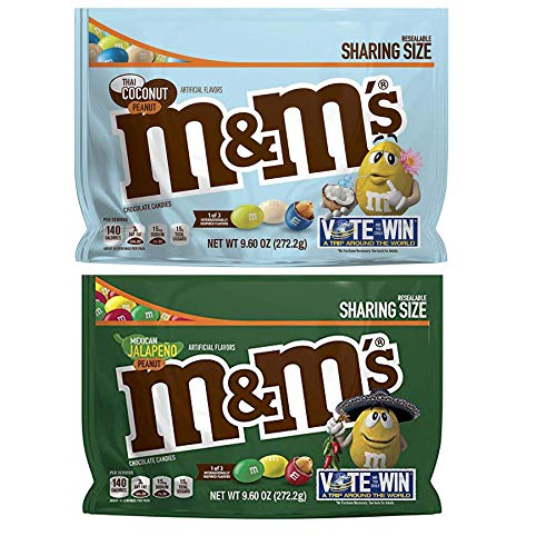 M&M's Chocolate Candy 9.60 Oz Pack Of 2! 2 Flavors, Thai Coconut Peanut and Mexican Jalapeno Peanut! Sharing Size in Resealable Bag! Delicious Crunchy Chocolate Candies! (2 Pack)]()