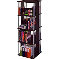 Spinning Shelves 8 Tier Steel and Wood Espresso Brown Storage and Display Multipurpose Open Shelf Double Sided Divided Free Standing Media Tower Spinner eBook by Easy&FunDeals