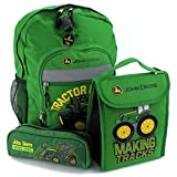 John Deere 16 inch Backpack Lunch Bag and Pencil Pouch Set (Green Tractor Power)
