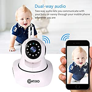 Contixo E3 Baby/Security HD 1080P Wifi Camera W/Full App Control, Night Vision 2-Way Audio, Remote Pan Tilt Control, Preset Locations, Motion Detection & Smart Alerts, Best Gift